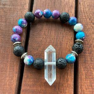 Double point crystal quartz purple jasper bracelet